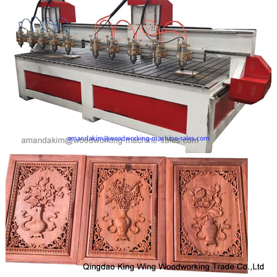 Customized big worktable size cnc wood router machine with 10 spindles