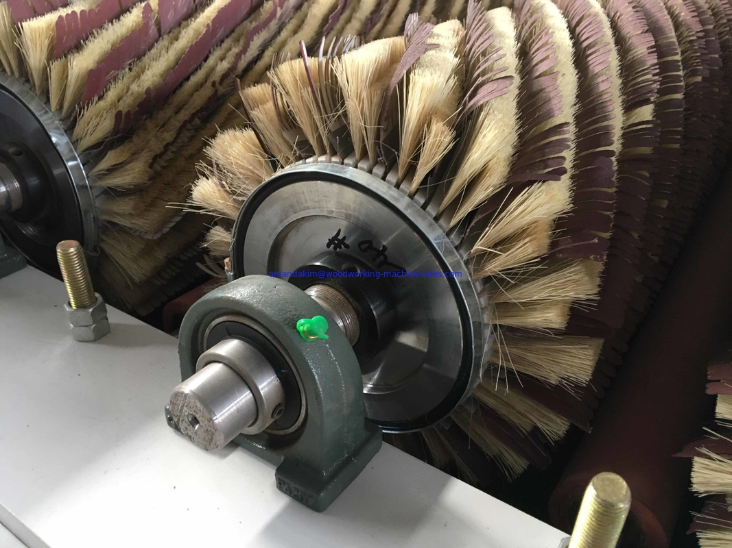 Wood Profile Moulding brush sanding machine with 6 sandpaper roller brush