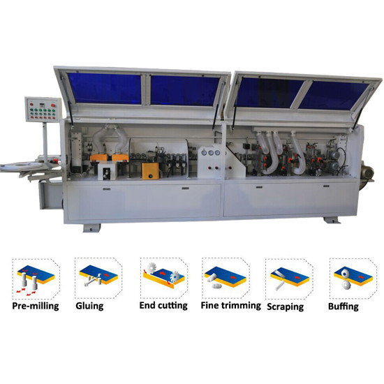 PVC edge banding straight full automatic edge banding machine KC307P with pre-milling function