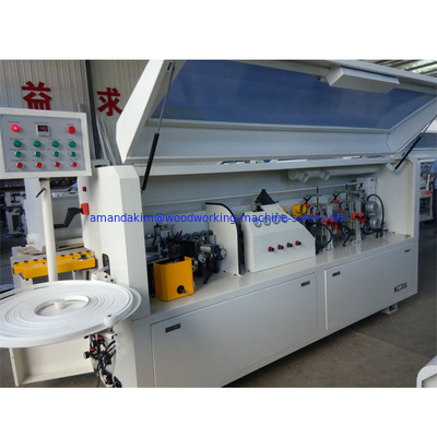 China Full automatic PVC edge banding machine KC307D with gluing end cutting rough  fine trimming scraping buffing functions distributor