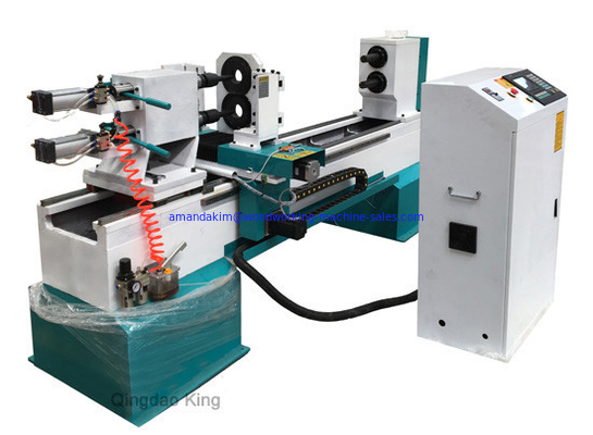 China Full automatic double spindles wood turning lathe machine distributor