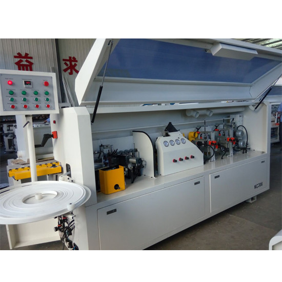 Full automatic PVC edge banding machine KC307D with gluing end cutting rough  fine trimming scraping buffing functions