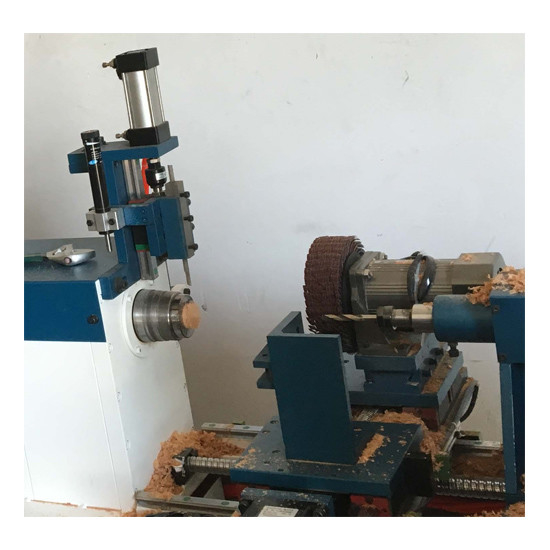 Wooden handle making machine CNC-T with full automatic feeding drilling and sanding sturctures