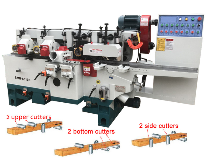 Timber Four sides planer with 5 spindles four side moulder