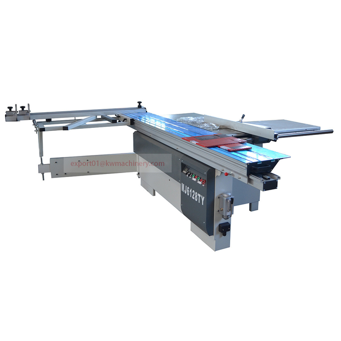 Wood cutting sliding panel table saw
